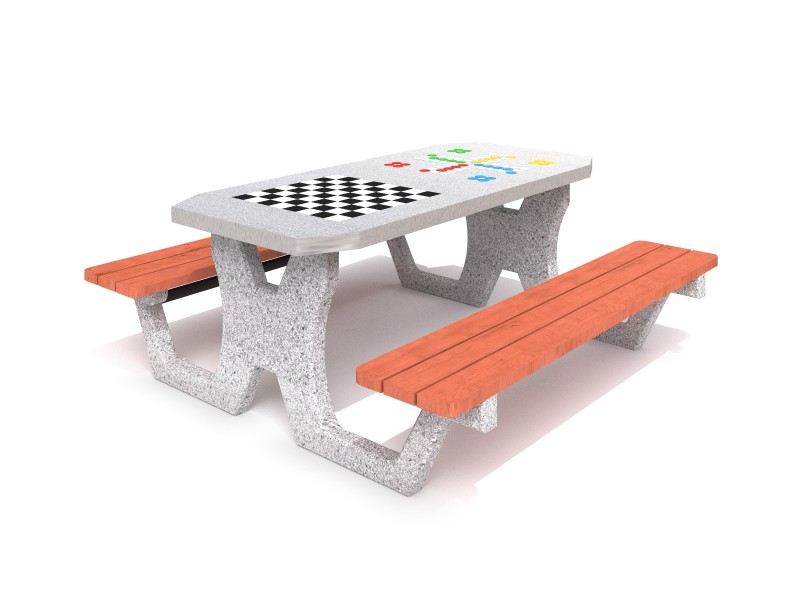 Inter-Play - Concrete table for chess - checkers / ludo game 02