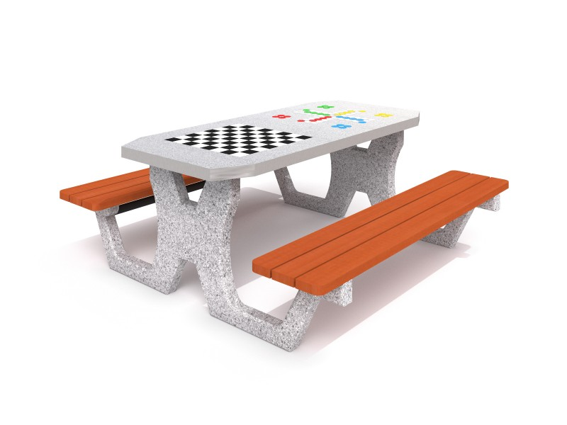 Concrete table for chess - checkers / ludo game 02 Inter Play Playground